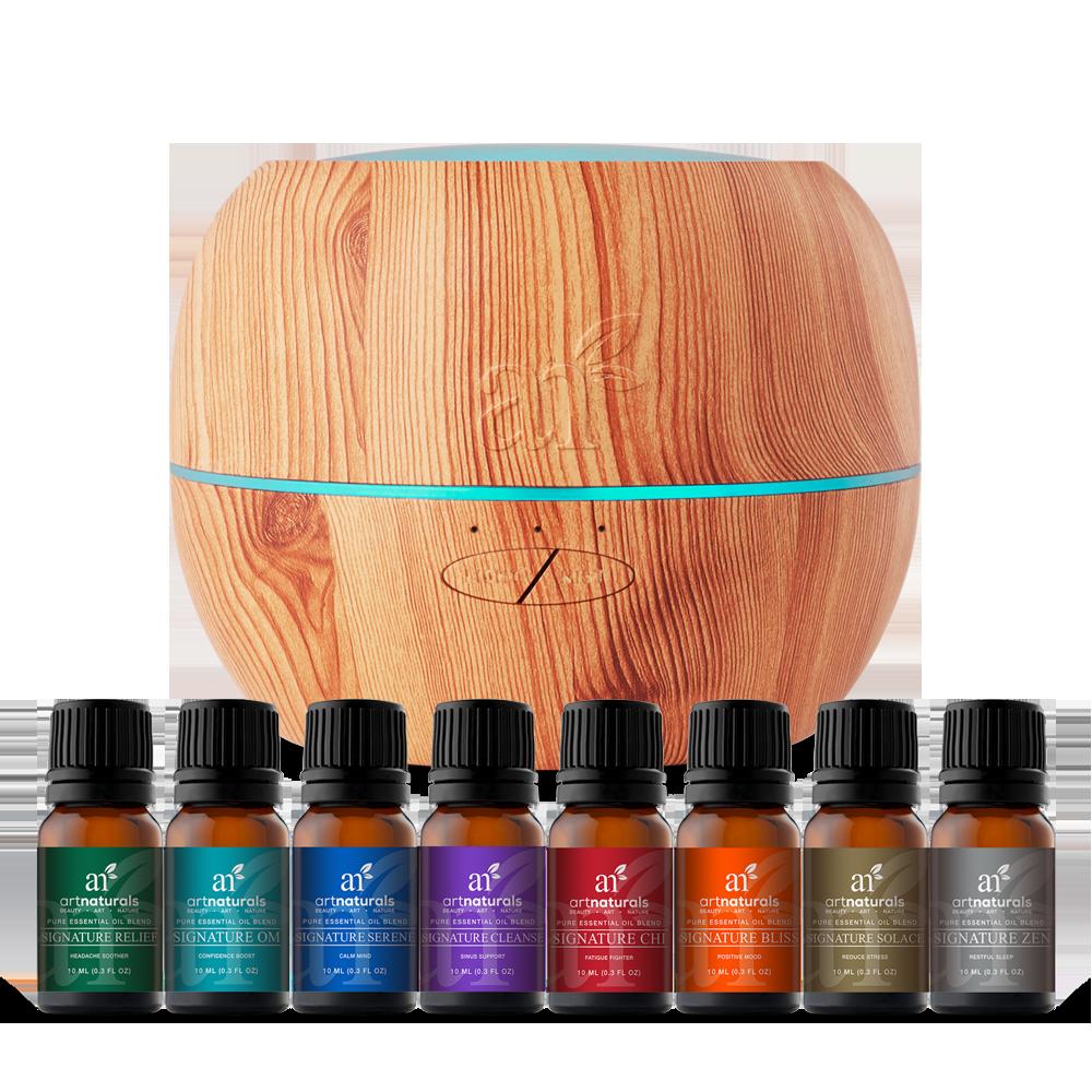 Top 8 Essential Oil Blends & Maple Diffuser Set