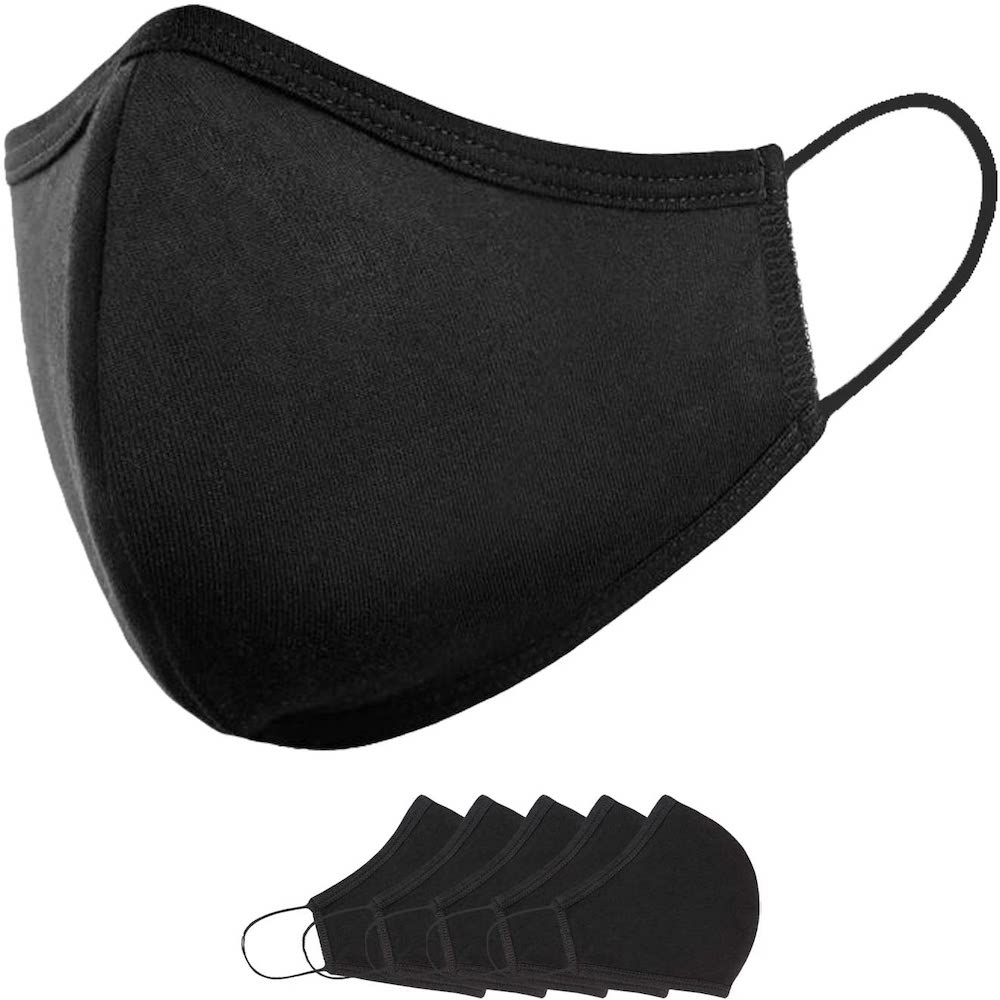 Reusable Black Cloth Face Mask Small for kids - 5 units