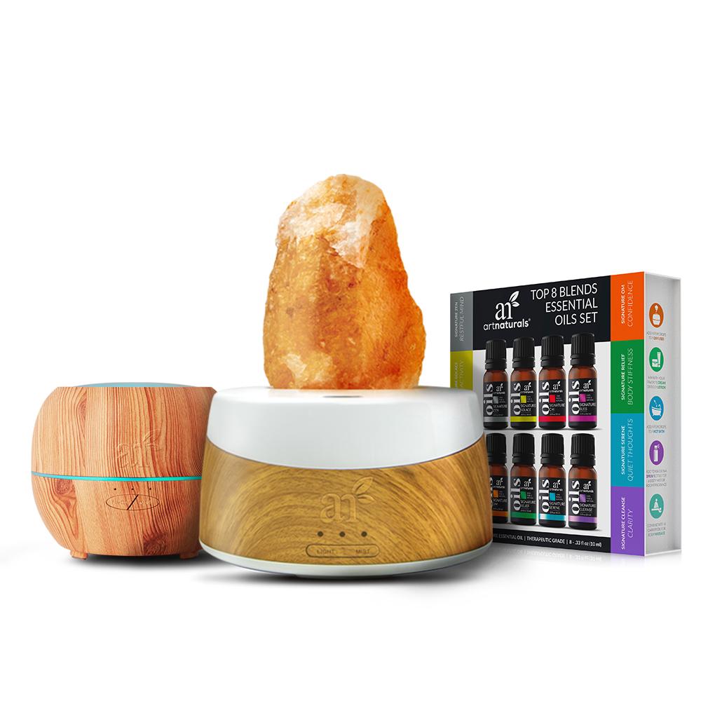 Himalayan salt lamp diffuser. 8 blend oils. Extra diffuser 150ml