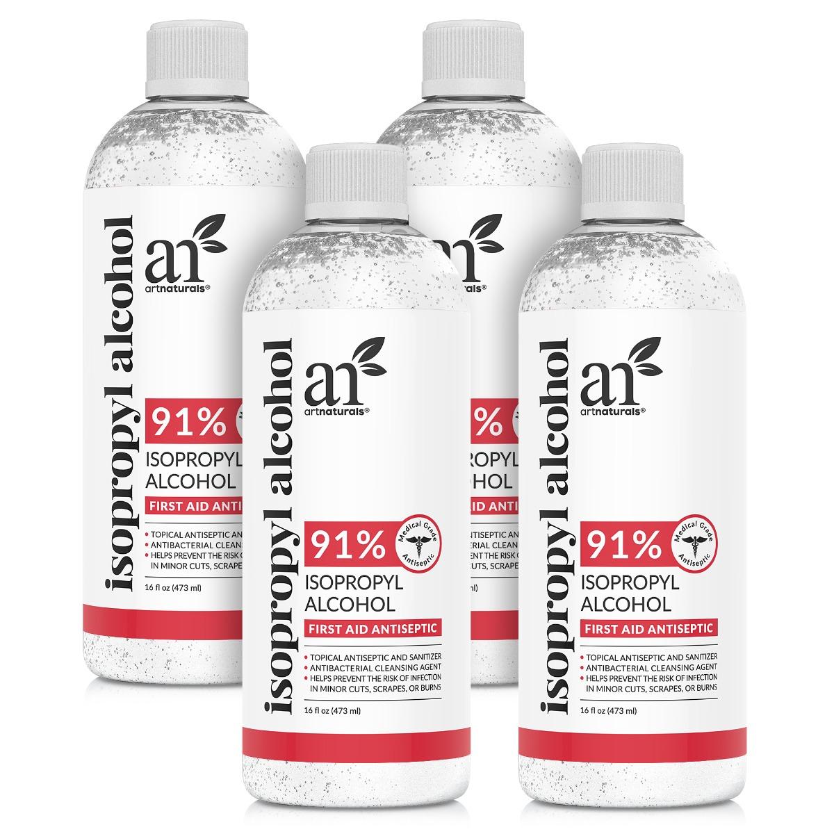 Isopropyl Alcohol 91% Purity - 4 bottles of 16oz