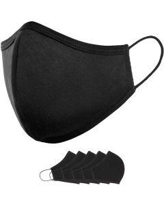 Reusable Black Cloth Face Mask Medium Size for kids - 5 units
