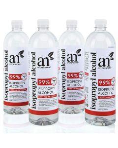 Rubbing Isopropyl Alcohol 99% Pure - Pack of 4 Quarts - 33.8oz - 1000ml