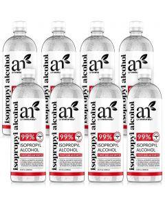 Rubbing Isopropyl Alcohol 99% Pure - Pack of 8 Quarts - 33.8oz - 1000ml