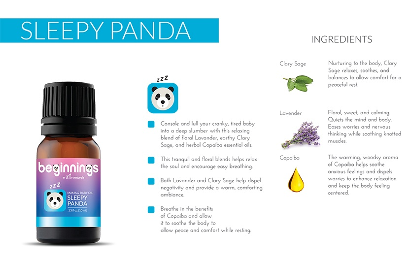 Sleepy panda essential oil for babies oil bottle and ingredients benefits infographic.