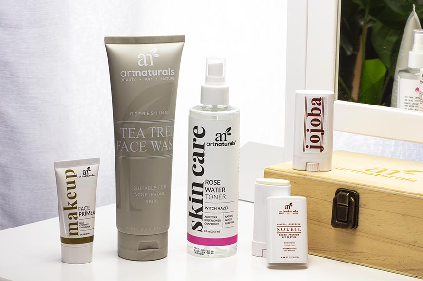 natural-skin-care-products-for-morning-routine-on-counter-with-mirror